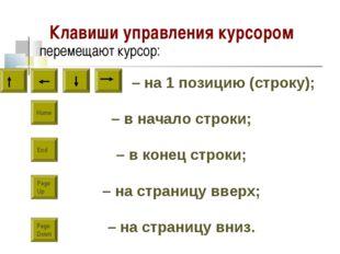Клавиши управления курсором перемещают курсор: – на 1 позицию (строку); – в н