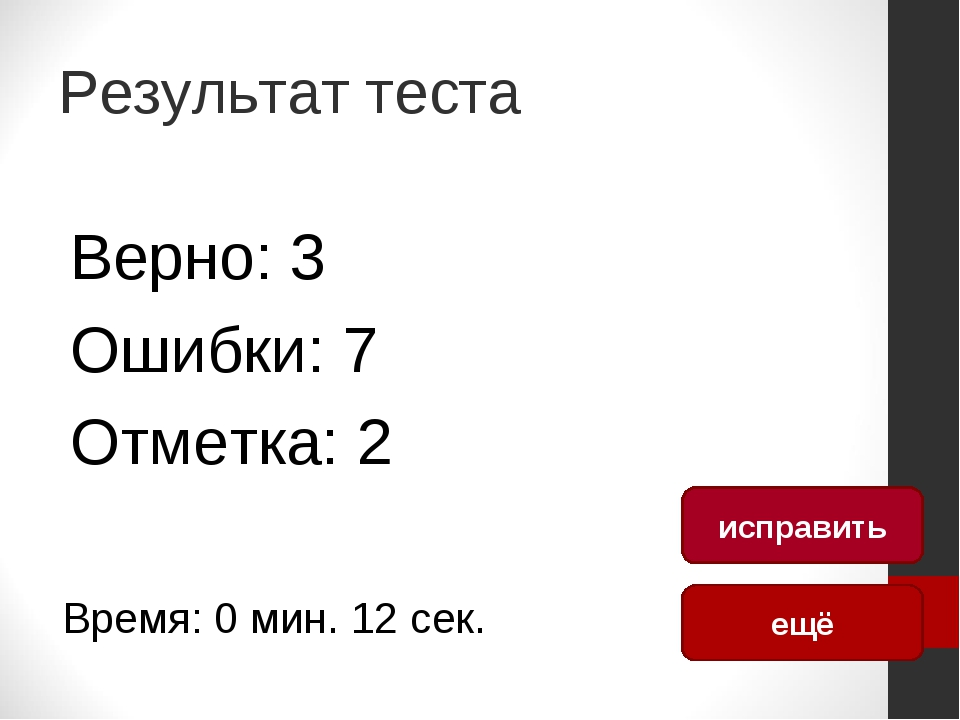 Результат теста Верно: 3 Ошибки: 7 Отметка: 2 Время: 0 мин. 12 сек. ещё испра...