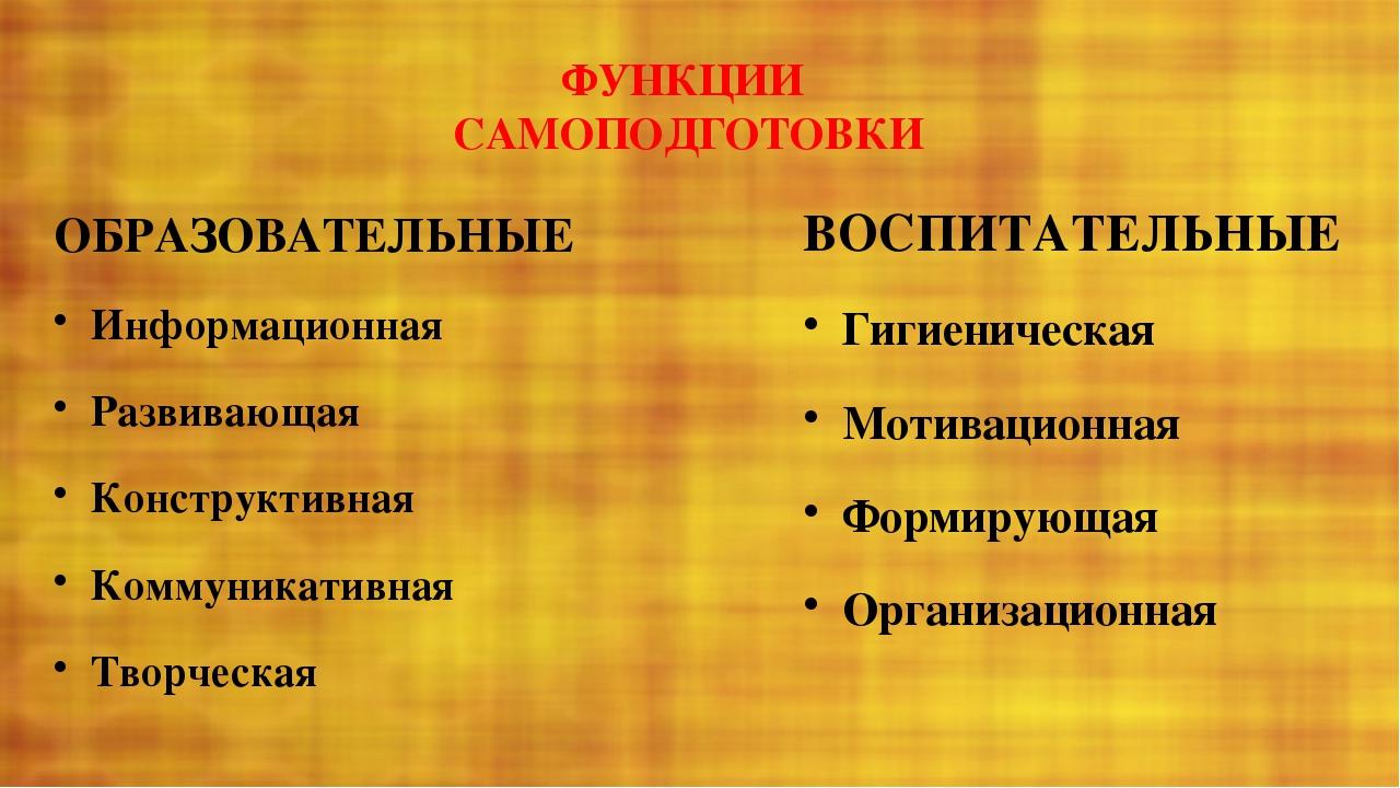 ФУНКЦИИ САМОПОДГОТОВКИ ОБРАЗОВАТЕЛЬНЫЕ Информационная Развивающая Конструкти...