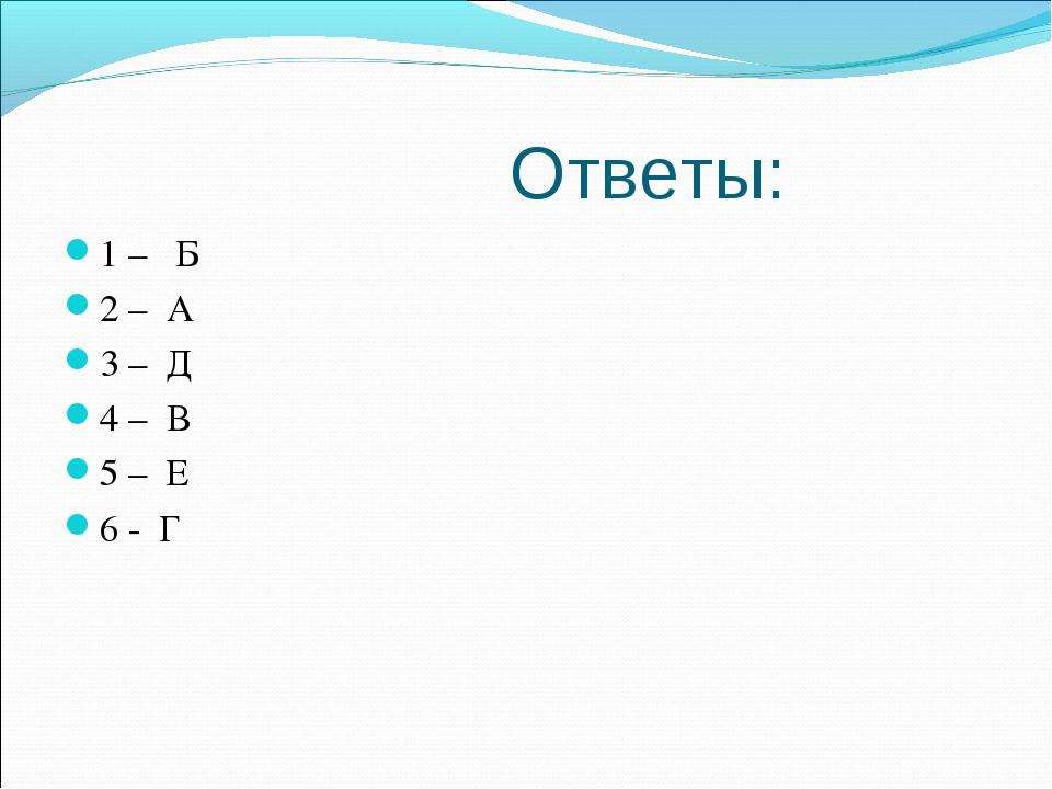 Ответы: 1 – Б 2 – А 3 – Д 4 – В 5 – Е 6 - Г