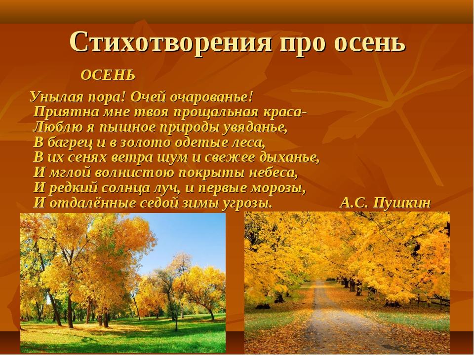 Стихотворения про осень ОСЕНЬ Унылая пора! Очей очарованье! Приятна мне твоя...