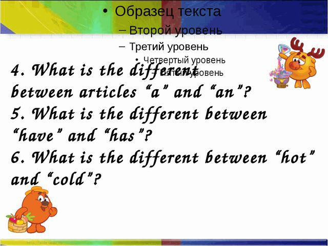 """4. What is the different between articles """"a"""" and """"an""""? 5. What is the diffe..."""