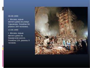 08.09.1999 г. Москва, взрыв жилого дома на улице Гурьянова. Погибли 94, ранен