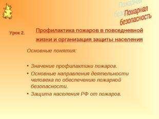 Основные понятия: Значение профилактики пожаров. Основные направления деятель
