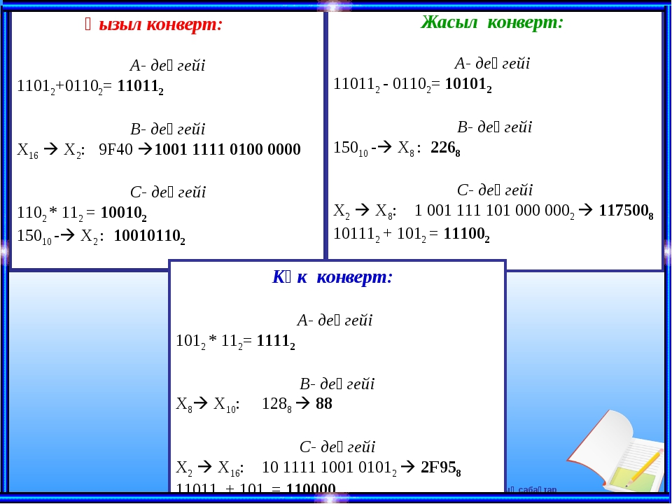 Қызыл конверт: А- деңгейі 11012+01102= 110112 В- деңгейі X16  X2: 9F40 1001...
