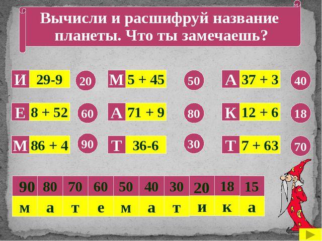 Вычисли и расшифруй название планеты. Что ты замечаешь? 29-9 8 + 52 86 + 4 3...
