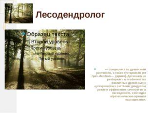 Лесодендролог — специалист по древесным растениям, а также кустарникам (от гр