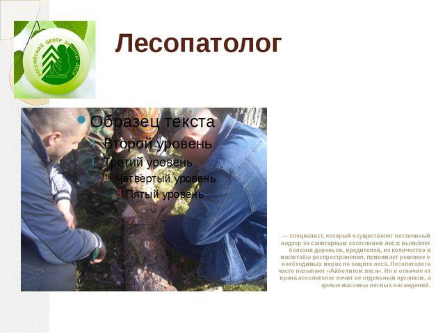 Лесопатолог — специалист, который осуществляет постоянный надзор за санитарны...