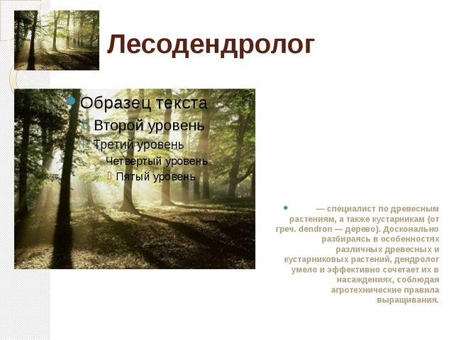 Лесодендролог — специалист по древесным растениям, а также кустарникам (от гр...
