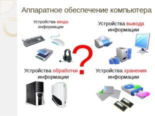Аппаратное обеспечение компьютера Устройства ввода информации Устройства выво