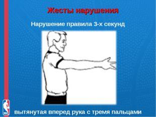 Жесты нарушения Нарушение правила 3-х секунд вытянутая вперед рука с тремя п