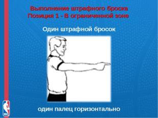 Выполнение штрафного броска Позиция 1 - В ограниченной зоне Один штрафной бр