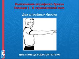 Выполнение штрафного броска Позиция 1 - В ограниченной зоне Два штрафных бро