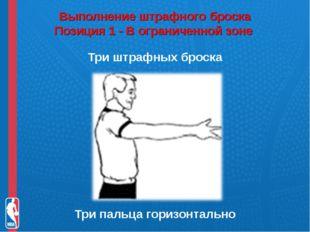 Выполнение штрафного броска Позиция 1 - В ограниченной зоне Три штрафных бро
