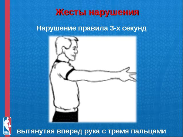 Жесты нарушения Нарушение правила 3-х секунд вытянутая вперед рука с тремя п...