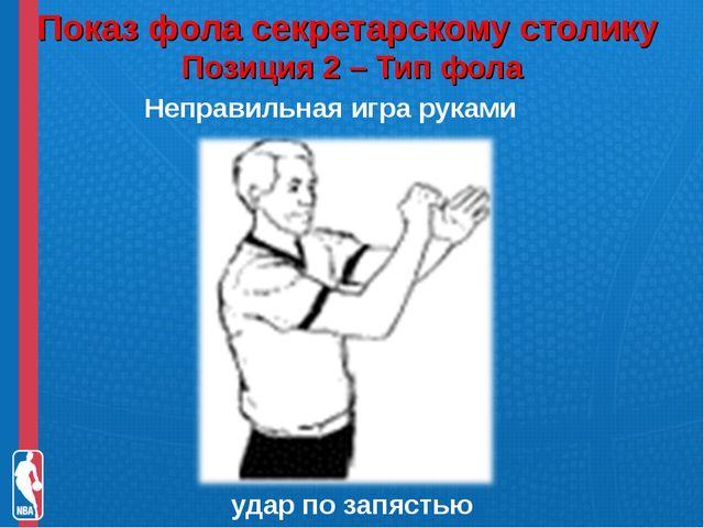 Показ фола секретарскому столику Позиция 2 – Тип фола Неправильная игра рука...