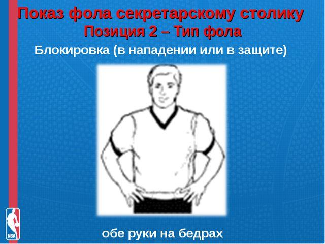 Показ фола секретарскому столику Позиция 2 – Тип фола Блокировка (в нападени...