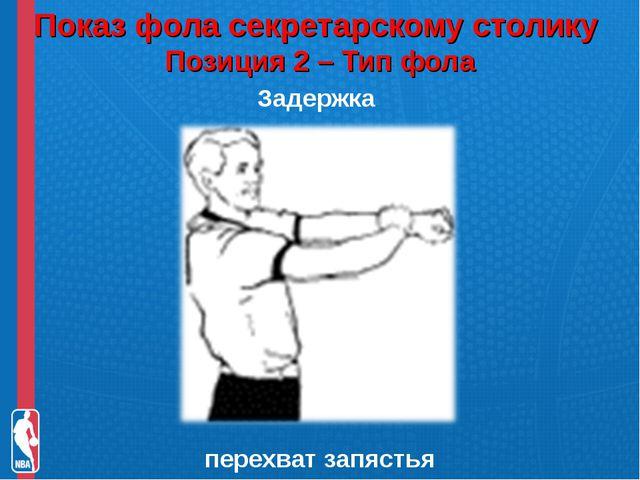 Показ фола секретарскому столику Позиция 2 – Тип фола Задержка перехват запя...