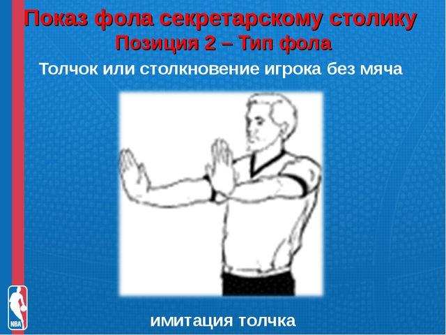 Показ фола секретарскому столику Позиция 2 – Тип фола Толчок или столкновени...