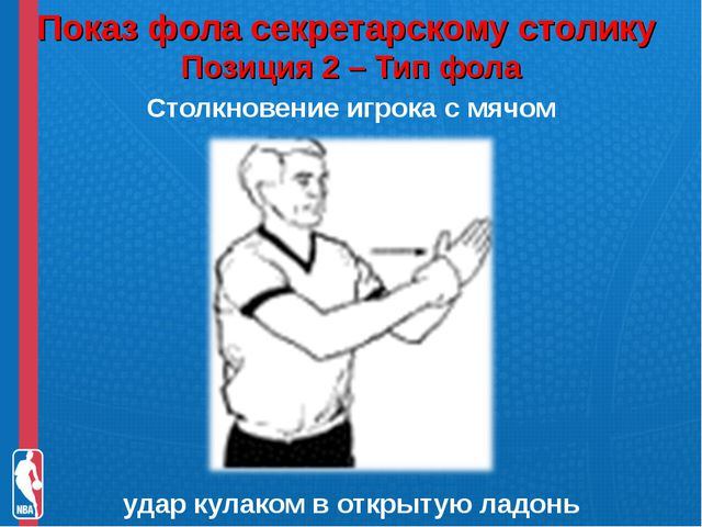 Показ фола секретарскому столику Позиция 2 – Тип фола Столкновение игрока с...