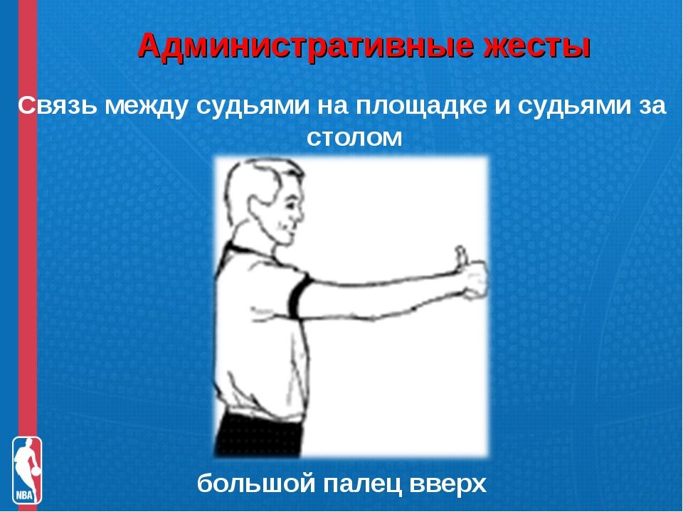Административные жесты Связь между судьями на площадке и судьями за столом б...