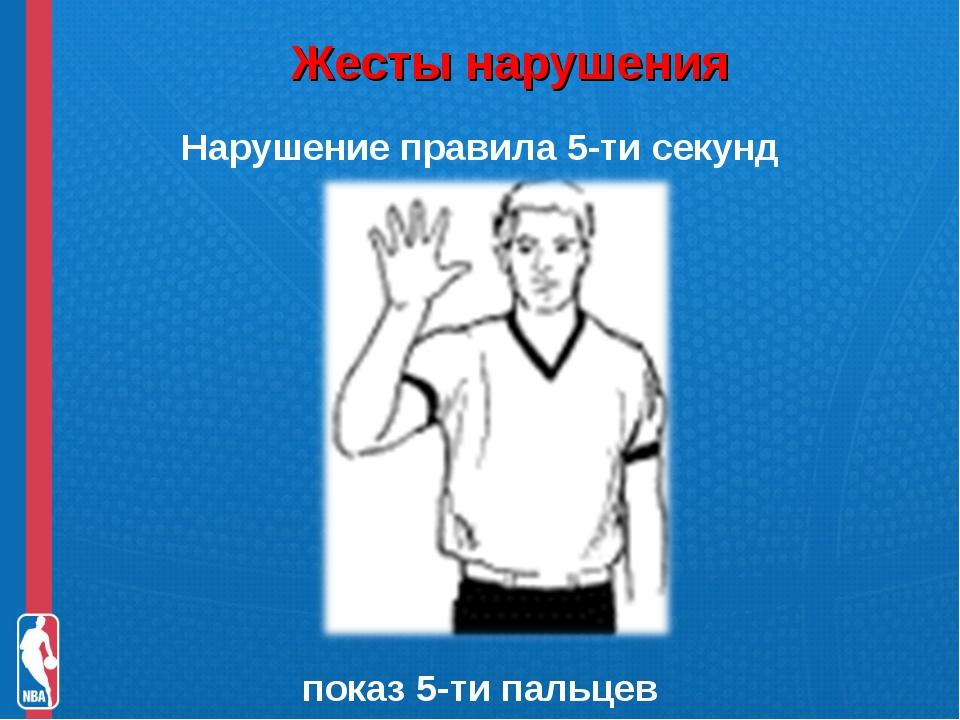 Жесты нарушения Нарушение правила 5-ти секунд показ 5-ти пальцев