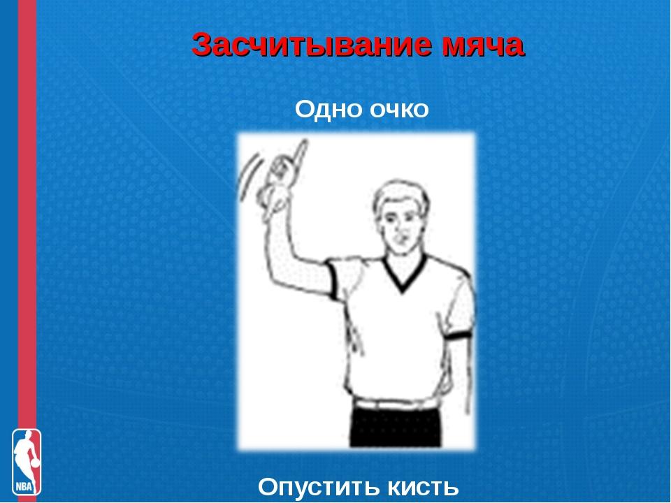 Засчитывание мяча Одно очко Опустить кисть