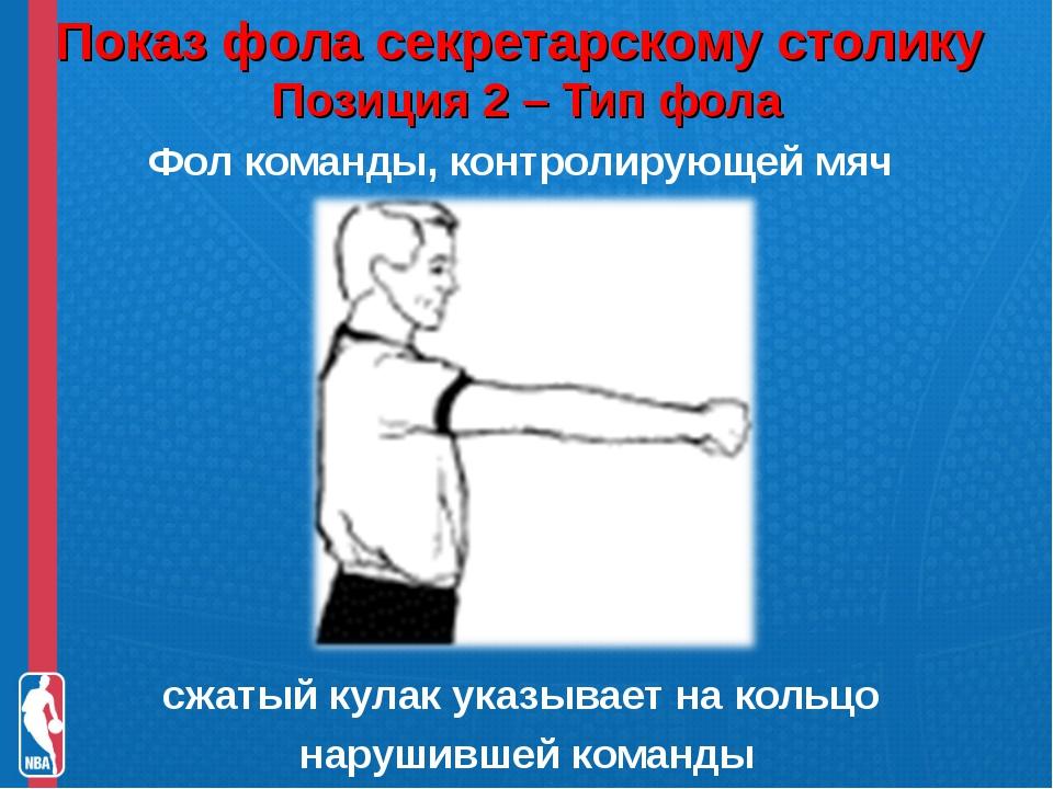 Показ фола секретарскому столику Позиция 2 – Тип фола Фол команды, контролир...