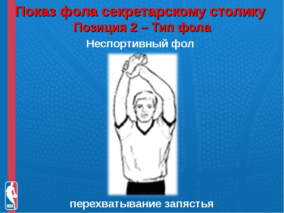 Показ фола секретарскому столику Позиция 2 – Тип фола Неспортивный фол перех...