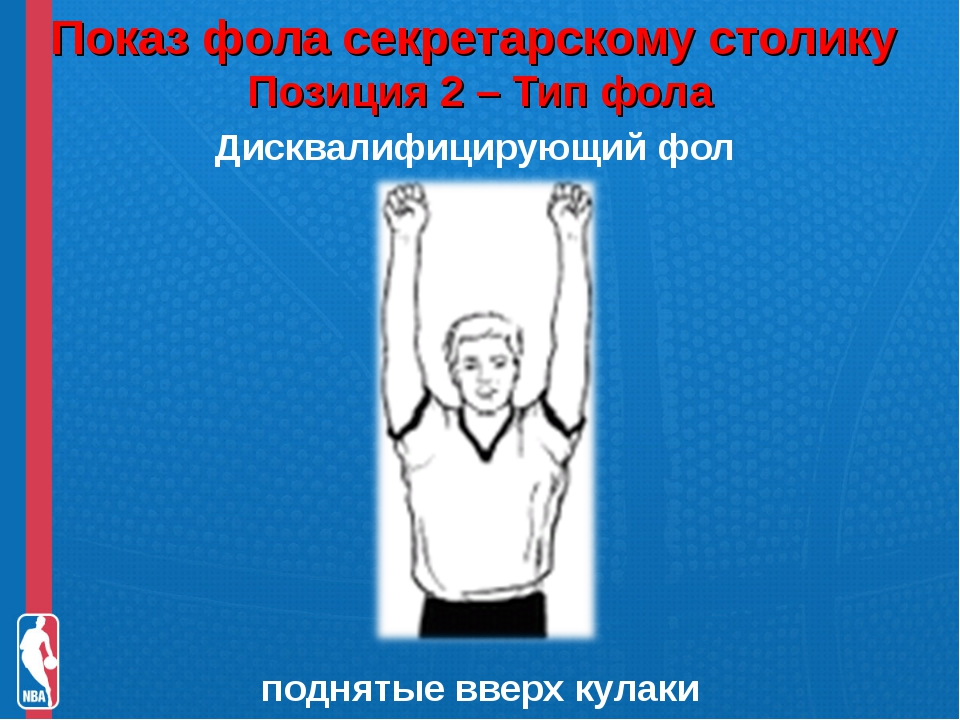 Показ фола секретарскому столику Позиция 2 – Тип фола Дисквалифицирующий фол...