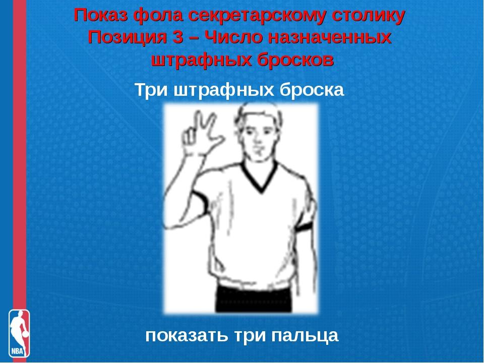 Показ фола секретарскому столику Позиция 3 – Число назначенных штрафных брос...