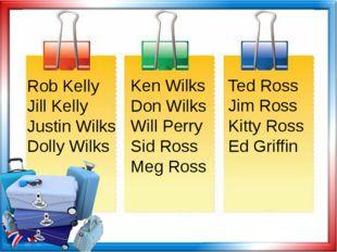 Rob Kelly Jill Kelly Justin Wilks Dolly Wilks Ted Ross Jim Ross Kitty Ross Ed