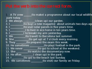 Put the verb into the correct form. A TV crew ______(to make) a programme abo