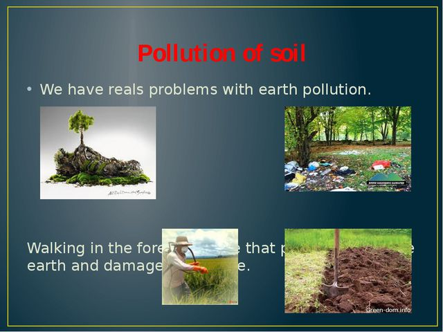 Pollution of soil We have reals problems with earth pollution. Walking in the...
