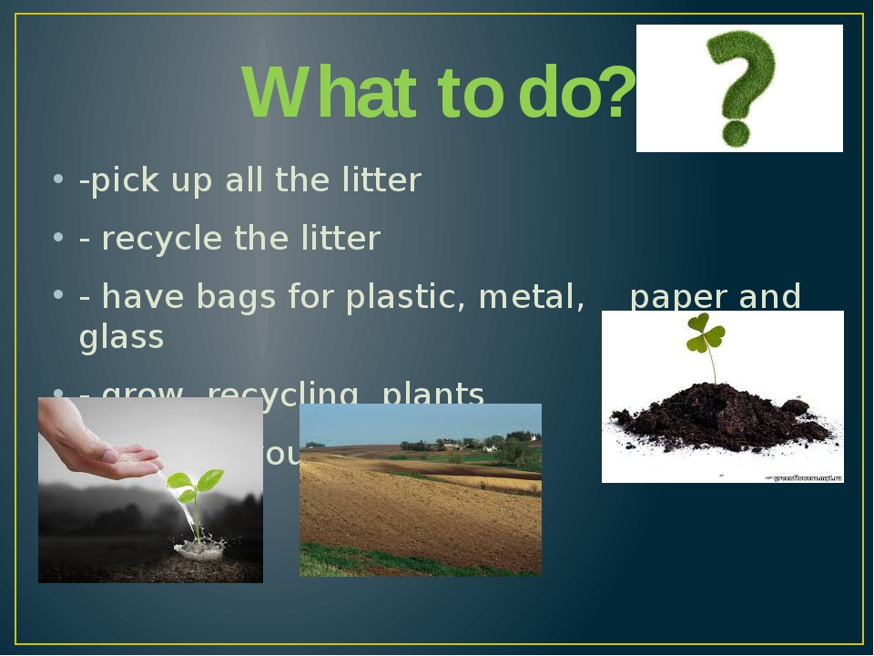 What to do? -pick up all the litter - recycle the litter - have bags for plas...