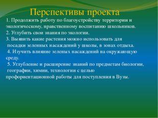 Перспективы проекта 1. Продолжить работу по благоустройству территории и экол