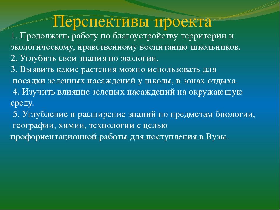 Перспективы проекта 1. Продолжить работу по благоустройству территории и экол...