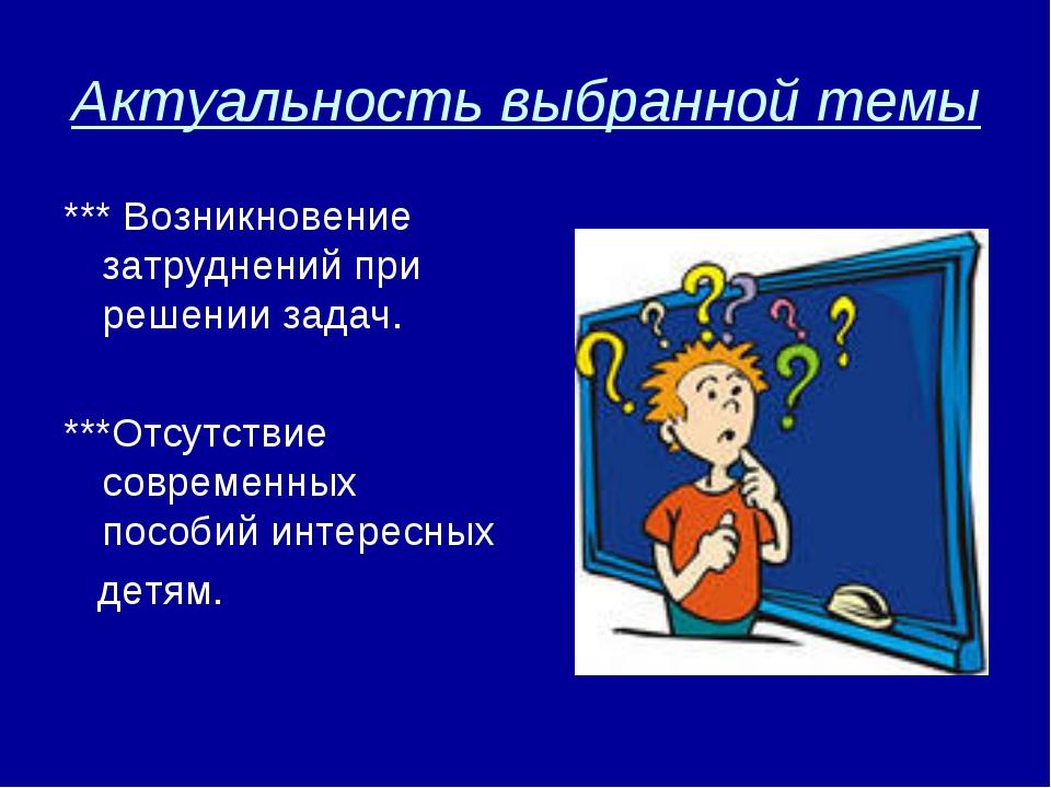 Актуальность выбранной темы *** Возникновение затруднений при решении задач....