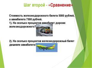 Шаг второй - «Сравнение» Стоимость железнодорожного билета 5000 рублей, а ав