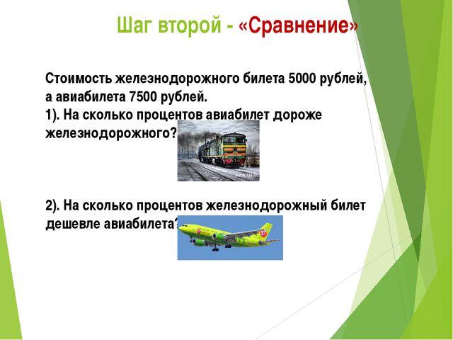 Шаг второй - «Сравнение» Стоимость железнодорожного билета 5000 рублей, а ав...