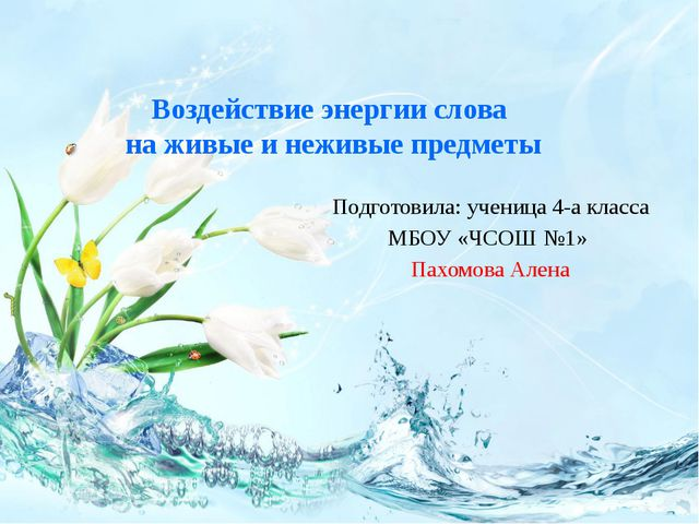 Подготовила: ученица 4-а класса МБОУ «ЧСОШ №1» Пахомова Алена Воздействие эне...