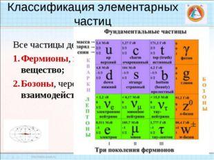 Классификация элементарных частиц Все частицы делятся на два класса: Фермионы