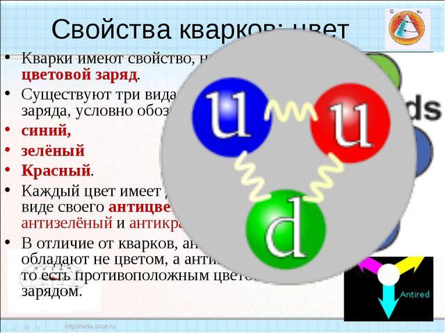 Кварки имеют свойство, называемое цветовой заряд. Существуют три вида цветово...