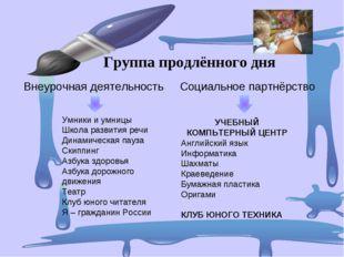 Внеурочная деятельность Социальное партнёрство Группа продлённого дня Умники