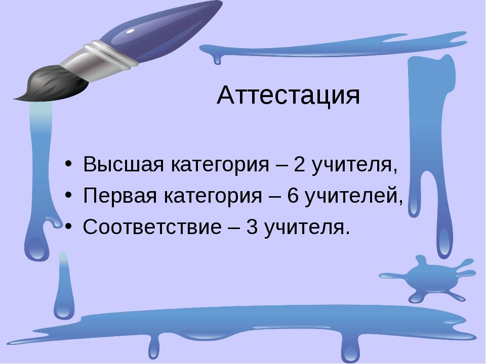 Аттестация Высшая категория – 2 учителя, Первая категория – 6 учителей, Соот...