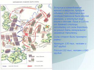 Вступив в командование армией в августе, Кутузов объявил, что действия его п