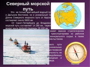 Северный морской путь Это не только кратчайший водный путь между Европейской