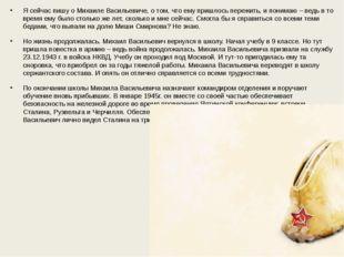 Я сейчас пишу о Михаиле Васильевиче, о том, что ему пришлось пережить, и пони