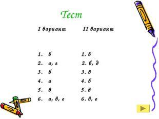 Тест I вариант II вариант б 1. б а, г 2. б, д б 3. в а 4. б в 5. в а, в, е 6.
