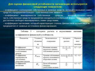 Для оценки финансовой устойчивости организации используются следующие показат